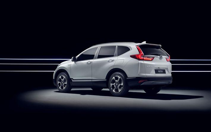 Download wallpapers Honda CR-V Hybrid, 2018, 4k, rear view, white crossover CR-V, new cars, Japanese cars, Honda