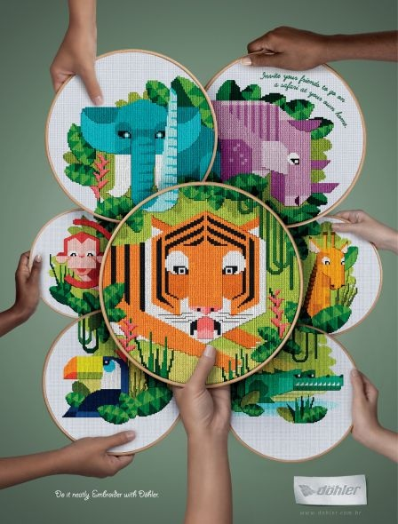 Invite your friends to go on a safari at your own home.  Do it neatly. Embroider with Dohler.