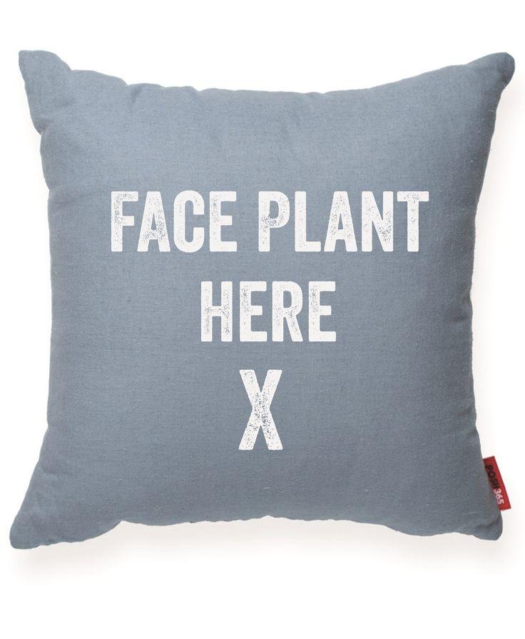 FACE PLANT HERE Blue Decorative Pillow