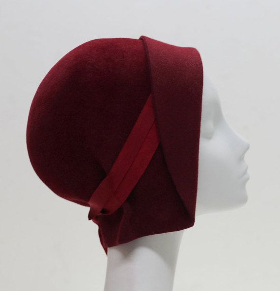 Red Felt Hat Cloche Hat w/ Ribbon Accent by AndTheyLovedHats