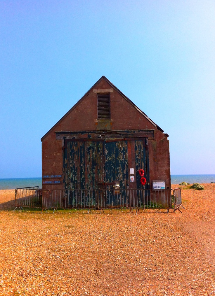 The old Mary Stanford Lifeboat House on the beach near Rye Harbour