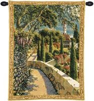 Lake Como Varenna Vista Mini Belgian Wall Tapestry W-3934, 10-29Inchestall, 10-29Incheswide, 20W, 26H, Belgian, Border, Como, Gold, Lake, Mini, Tapestry, Varenna, Vertical, Vista, Wall, Yellow, Belgianwoven, Europeanwoven, tapestries, tapestrys, hangings, and, the