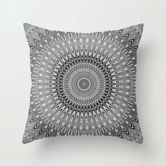 SOLD: Grey mandala Throw Pillow by David Zydd | Society6