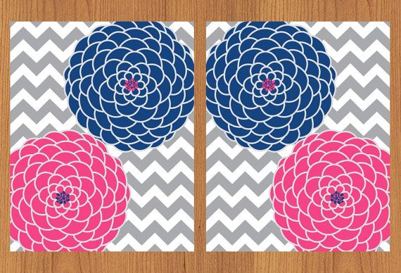 Floral Flower Burst Pink Blue Grey Chevron Wall Art Nursery