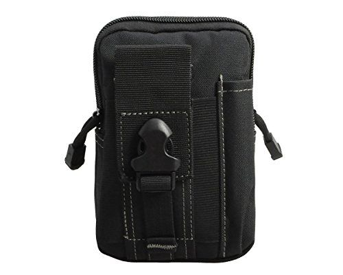 Doestyle Compact Molle Tactical Pouches, EDC Pouch Utility Gadget Pouch Belt Loops Waist Bag Gadget Money Pocket Phone Holster (Black) -- More info could be found at the image url.