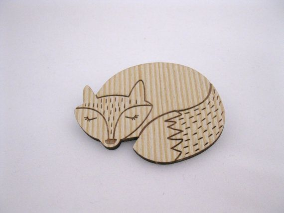 Wooden Fox Brooch. Large Sleeping Fox. by BunnaAndDooDesigns