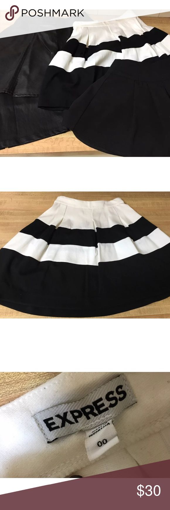 4 SKIRTS BUNDLE LOT H&M EXPRESS FOREVER 21 4 BEAUTIFUL WOMENS SKIRTS IN GREAT WORN CONDITION. EACH ONE WORN ONCE OR TWICE AS SHOWN IN PICTURES! 1. EXPRESS BLACK AND WHITE STRIPED SKIRT SIZE 00. 1. FOREVER 21 BLACK SKATER SKIRT SIZE XS. 1. H&M FAUX LEATHER SKATER SKIRT SIZE 2. 1. CENTURY 21 FAUX LEATHER PENCIL SKIRT WITH BACK SLIT SIZE SMALL. RETAILS OVER $120!!! Skirts
