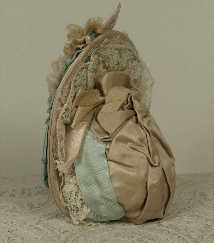 Wonderful Antique Aqua Silk Satin French Bebe Dress and Bonnet for JUMEAU, BRU, STEINER other French Bebe