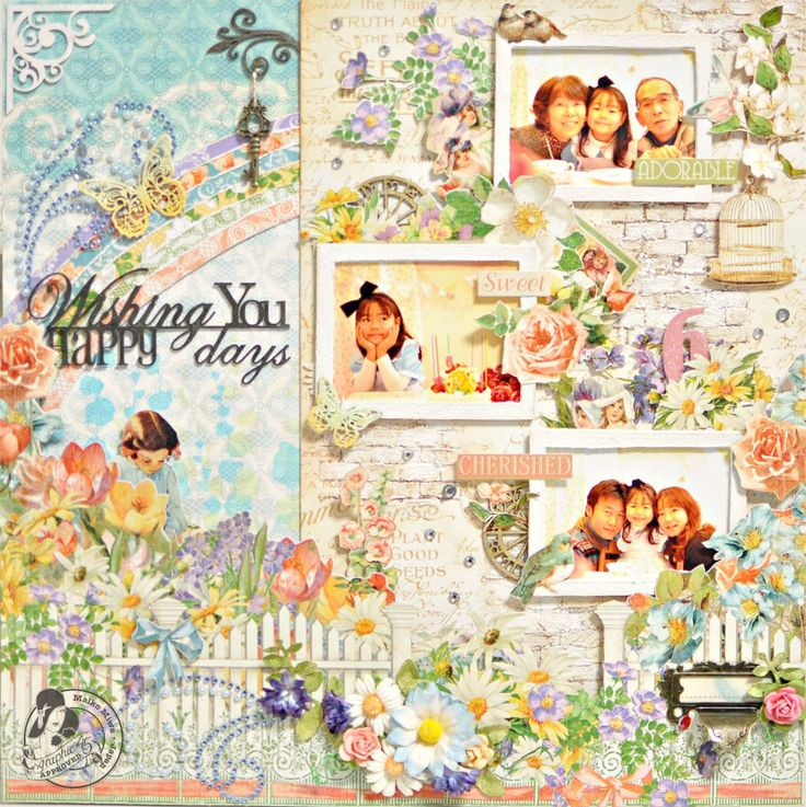 "I made a layout using ""Secret Garden"".  I looooooooooooooove this collection!!"