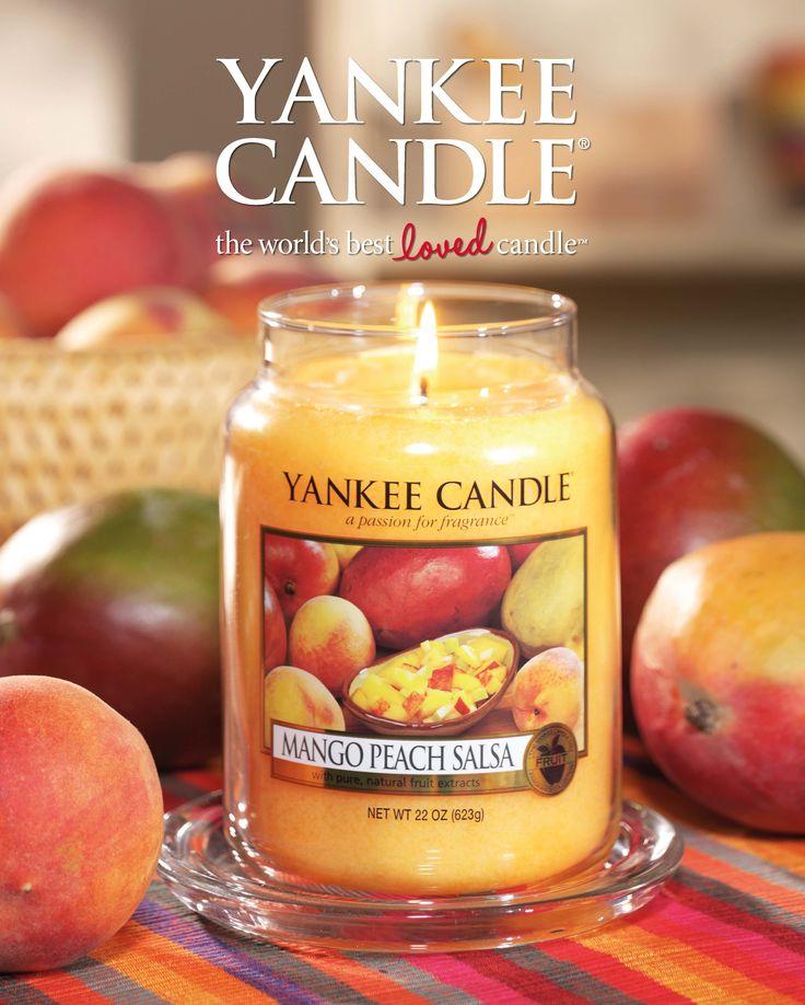 Mango Peach Salsa - Söt och pikant ... saftig mango och persikor med en aning citrus, ingefärans blommor och rosépeppar.  #YankeeCandle #MangoPeachSalsa