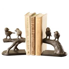 """Aluminum bookends with a perched birds motif.   Product: 2-Piece bookend setConstruction Material: AluminumColor: BronzeDimensions: 6.5"""" H x 6"""" W x 4"""" D each"""