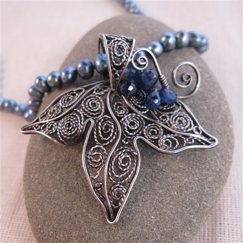 Grape Leaf and Sapphire Necklace