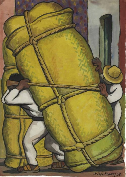 Cargadores - Diego Rivera 1937 Mexican 1886-1957 Watercolor on rice paper , 15 x 11 in. (38 x 28 cm.)