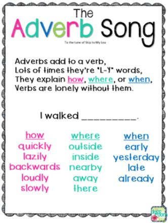 The Adverb Song, to the tune of Skip to my Lou