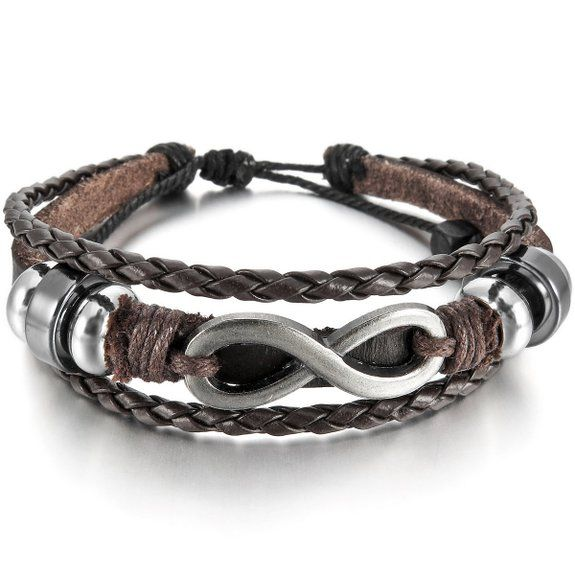 MunkiMix Alliage Genuine Leather Véritable Bracelet Menotte Argent Brun Infinity Infini Symbole Homme,Femme