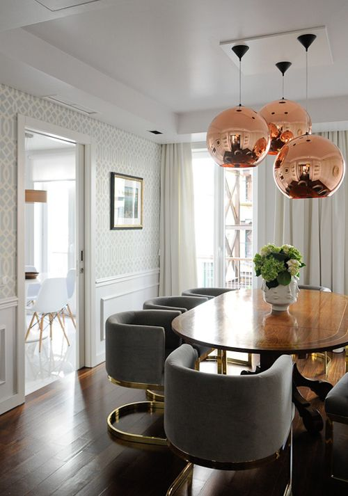 tom-dixon-copper-shade-pendant-dining-room-brass-barrel-chairs-trellis-wallpaperjpg.jpg 500×713 pixels