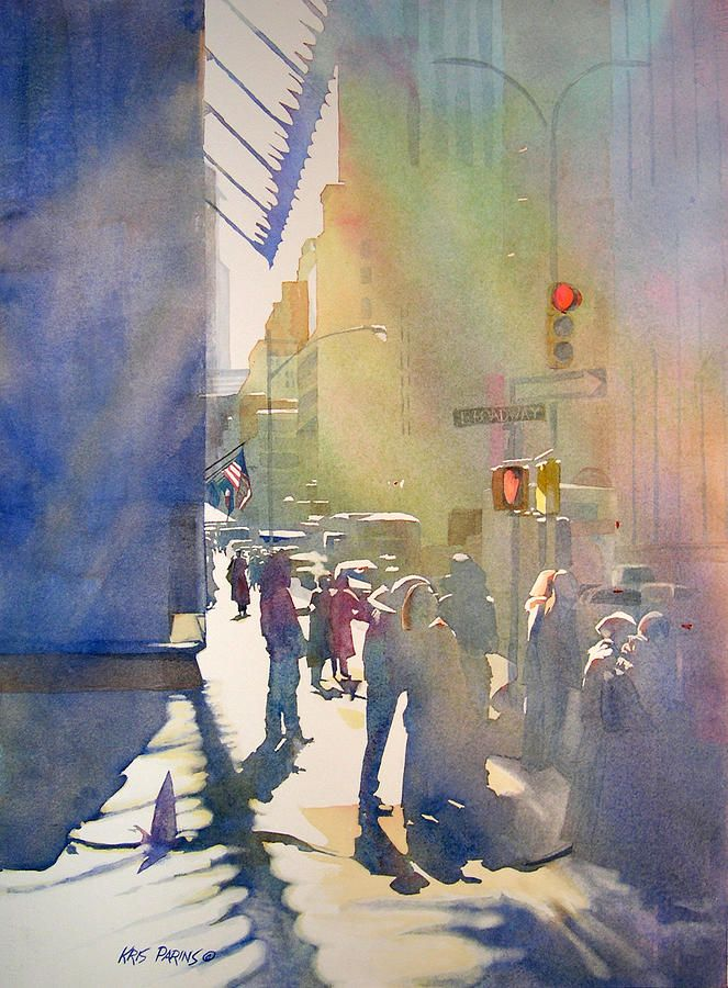 I Saw The Light At 44th And Broadway; Kris Parins; Watercolor On Paper