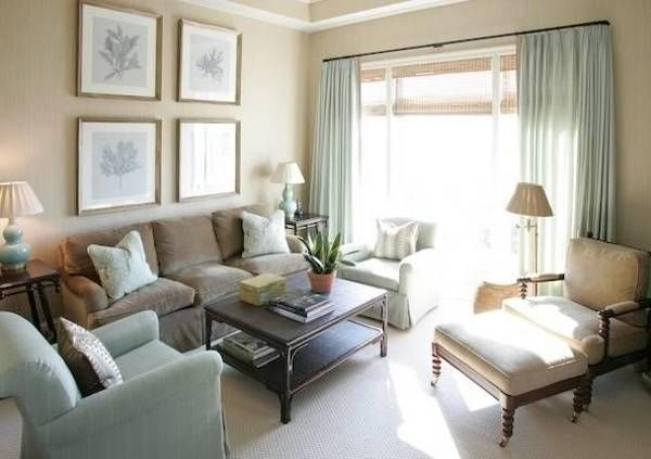 Green & cream... how to decorate small living rooms, furniture placement ideas