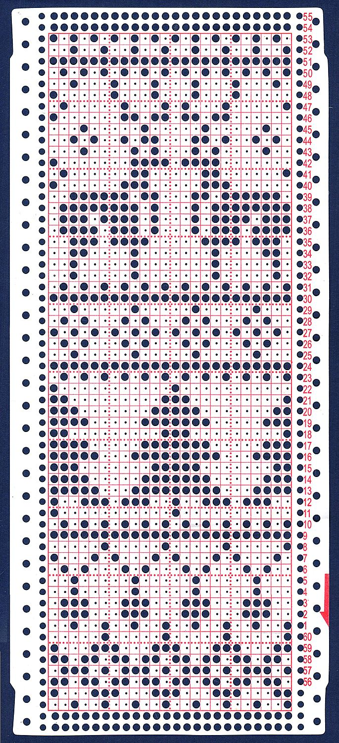 перфокарта 24 иглы punchcard 24 loops Christmas