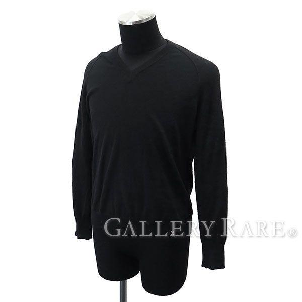 ルイヴィトン セーター Vネック 長袖 カシミヤ コットン ブラック メンズサイズXS LOUIS VUITTON ヴィトン メンズ 服
