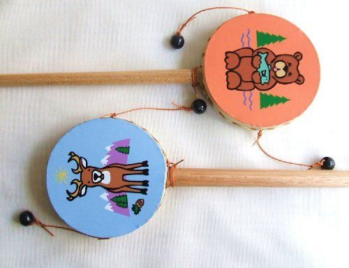 Two Hand Drums Goat skin Bear and Deer by Gifts and Beads. $12.99. Using Goatskin and thin layers of wood, these drum are formed by artisan in Peru. The Goatskin is tanned until it cures and stretches to its maximum. Then it is stretched over wood and tied by hand then carefully design geometric or animal patterns over the surface. Finally a single coat of varnish is applied over the design. 6 inches long, 3 inches diameter.