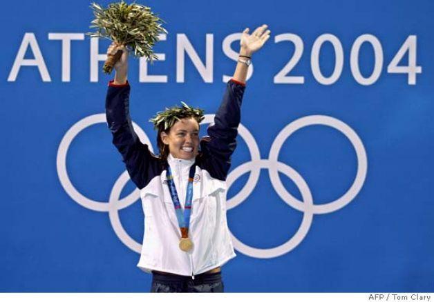 Olympic Medal Podium | 100m backstroke, gold medal, at the 2004 Olympic Games at the Olympic ...