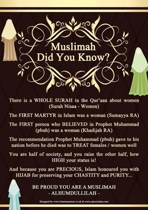 Be proud, dear Muslim sisters :)