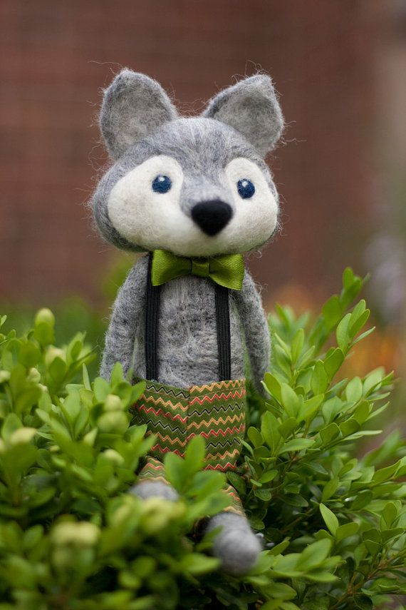 Wesley Needle Felted Wolf Doll by MiloandBen