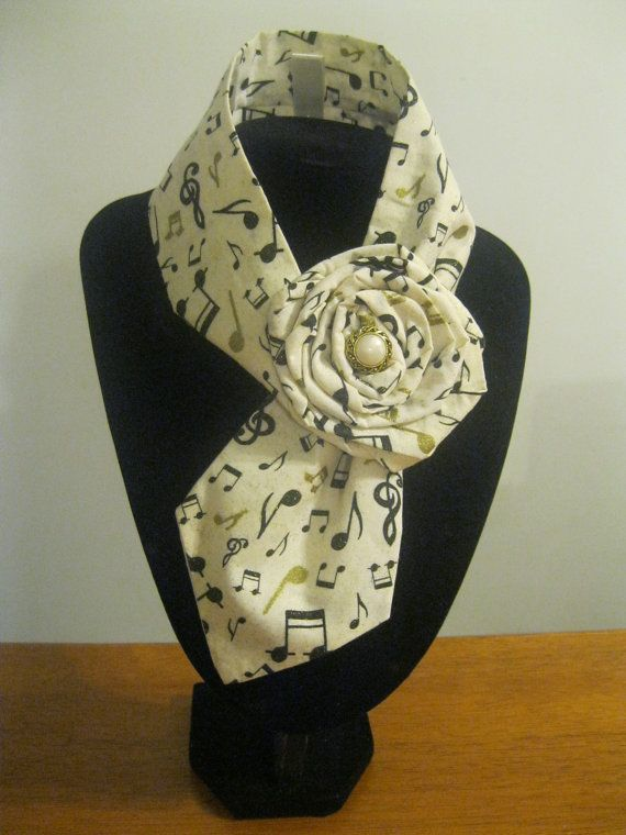 Perfect gift for a music teacher, musician or lover of music. Gorgeous upcycled tie necklace/necktie/scarf in cream cotton by TiesnButtons, $30.00