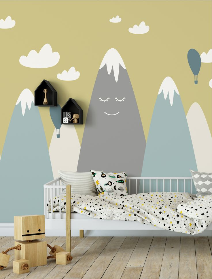 Happy Mountains – Handgefertigte Kinder Wallpaper / Wandgemälde