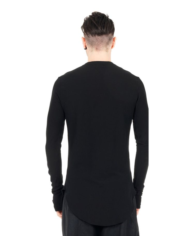 LOST&FOUND MAN Black cotton sweater crew-neck with buttons long sleeves two side splits 100% CO