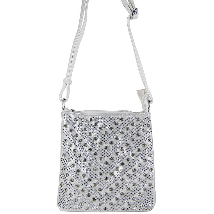 This beautiful white studded messenger bag with subtle rhinestone details will go with all your dresses smoothly which makes it a must-have- http://bit.ly/2rTsezs