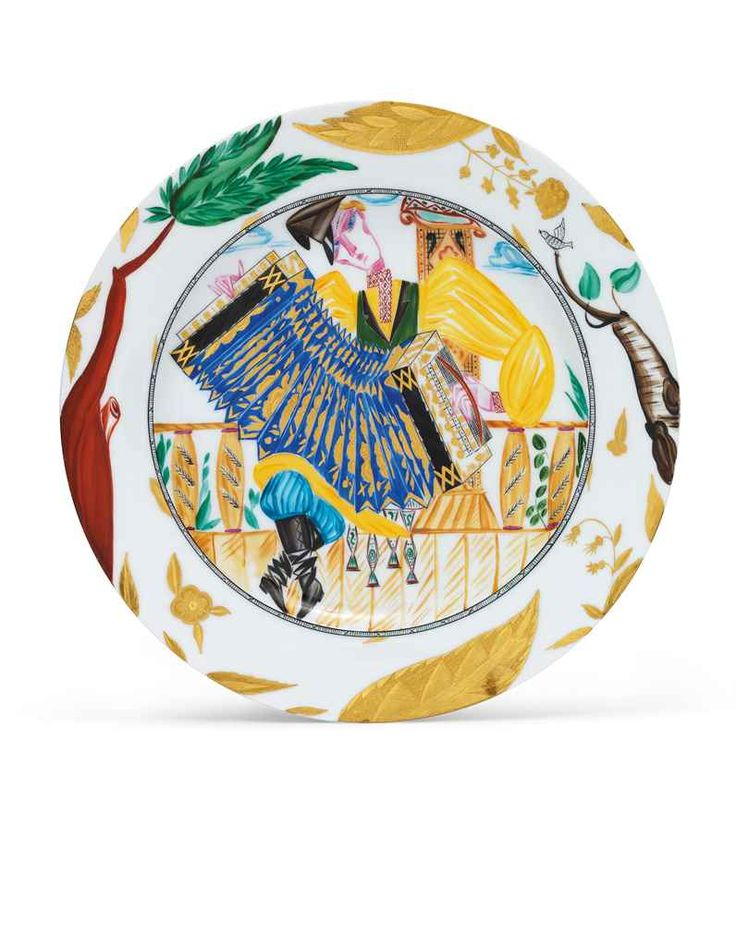 SOVIET PORCELAIN PLATE 'THE ACCORDION PLAYER' BY THE IMPERIAL PORCELAIN FACTORY, 1896, AND THE STATE PORCELAIN FACTORY, PETROGRAD, 1923-1924