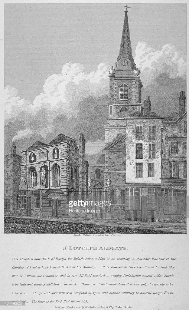 Church of St Botolph, Aldgate, City of London, 1810. View of St Botolph, Aldgate with the Sir John Cass School on the left.