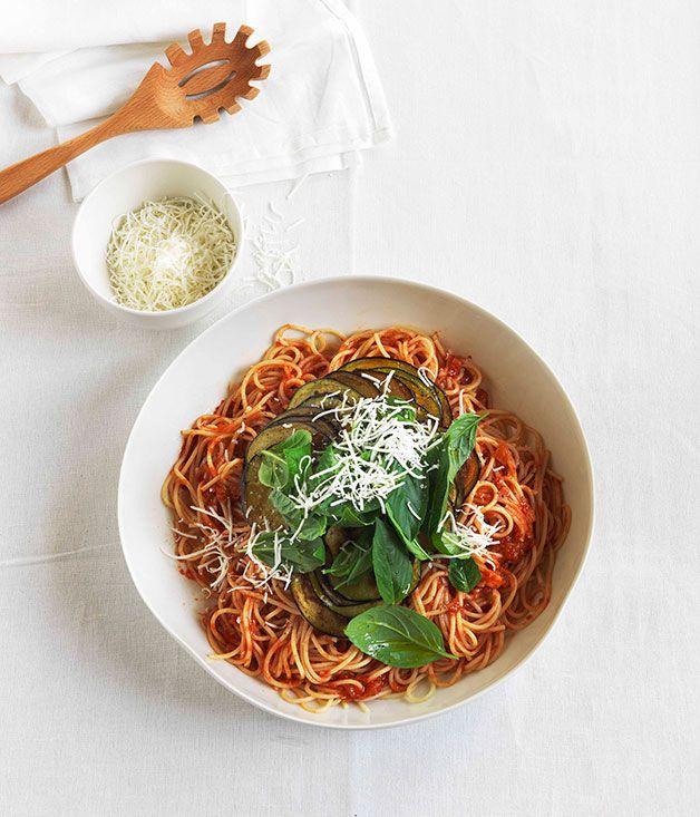 Australian Gourmet Traveller fast Italian recipe for spaghetti all Norma.#food