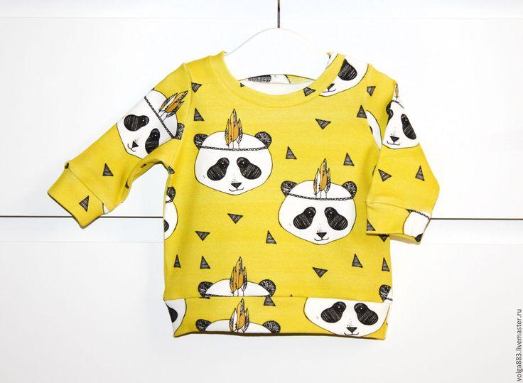 """Купить Свитшот детский """"Панды Индейцы"""" - желтый, рисунок, панды, панда, свитшот, свитшот с рисунком"""