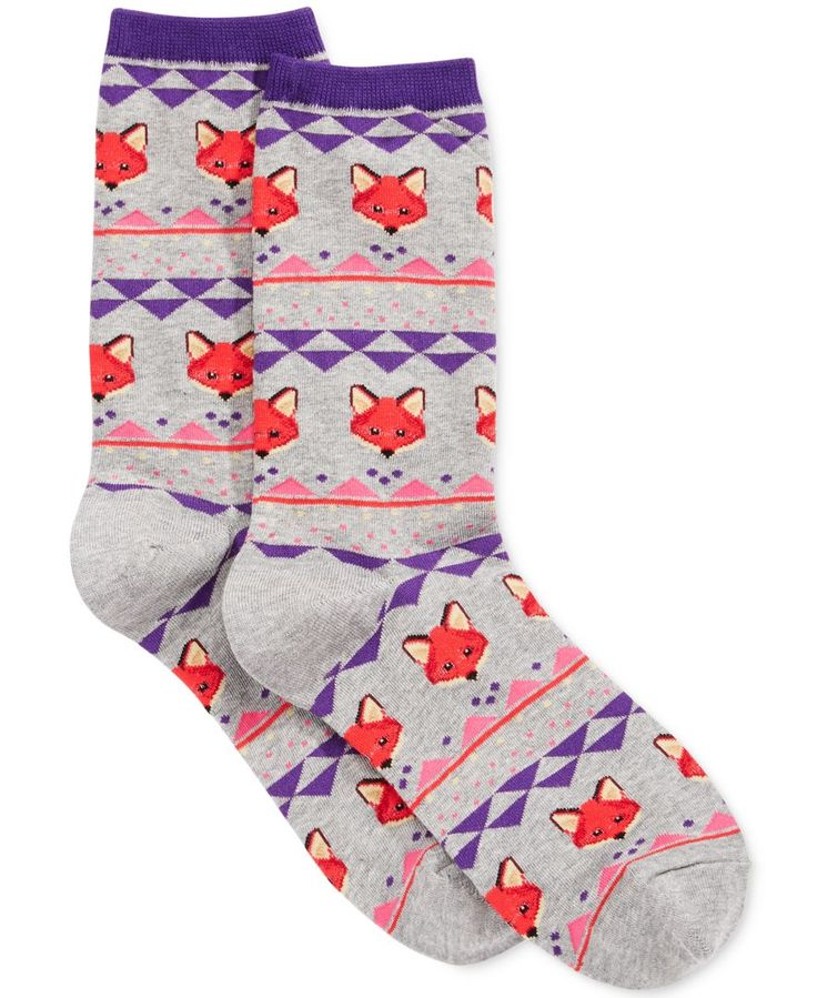 Hot Sox reimagines a traditional Fairisle pattern with clever woven foxes in place of snowflakes on this pair of comfy socks cut to crew length. | Cotton/polyester/nylon/spandex, exclusive of elastic