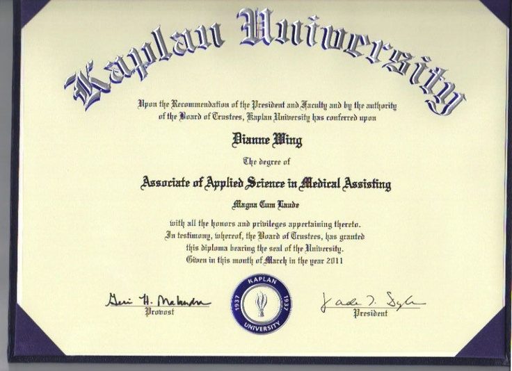 Kaplan University Certificate From