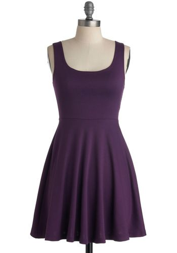 Could definitely dress this one up... Join Us Dress - Purple, Solid, A-line, Tank top (2 thick straps), Casual, Summer, Holiday Sale, Minimal, Short, Mini