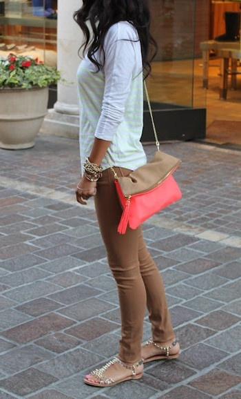 Beige Pants, beige sandals, beige/pink clutch, white blouse