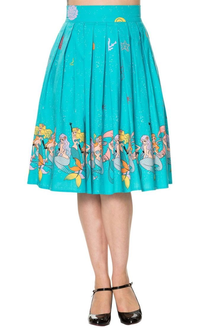 60's Retro Mermaids Vintage Mermaid Print Pleated Print midi Turquoise Blue skirt  #midiskirt #midiskirts #vintagefashion #mermaids #mermaid #skirts