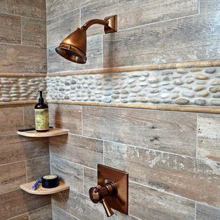 dedans de douche,céramique imitation de bois gris