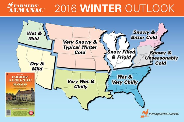 "2016 Farmers Almanac Winter Map.  This doesn't match the forecasts that include El Nino.  I hope the El Nino forecasters are right and we don't get the ""bitter cold"""