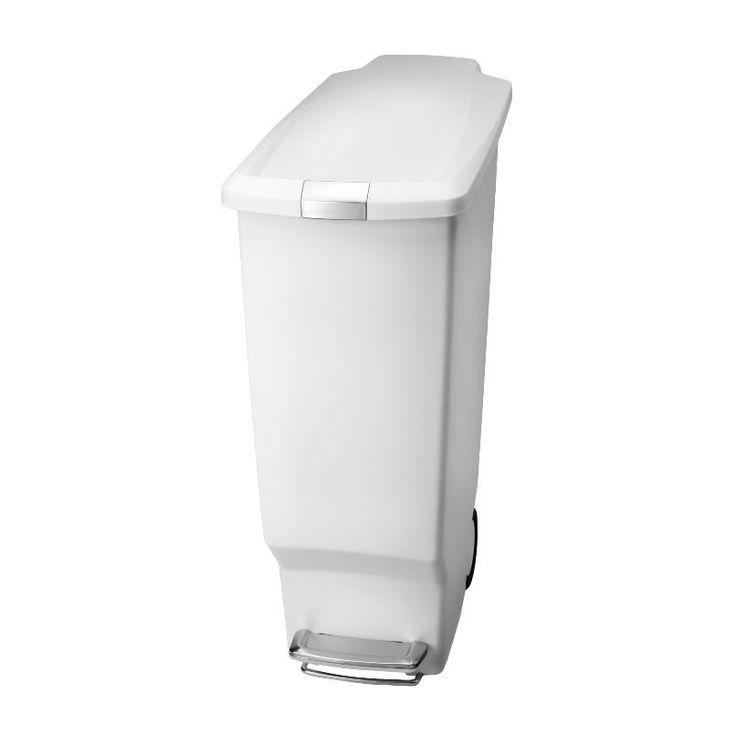 Slim Pedal Bin White 40L Durability Wheels Strong Steel Pedal Lid Silent Guaran