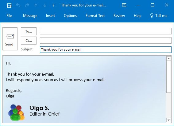How to create a template for outlook messages To customize an automatic reply in MS Outlook, first, you need to create a template of e-mail message that will be send according to custom rules. You can use a template, also, when you need to send messages regularly such as some reports, if it contains the same text, subject or recipients and just need a little modification.