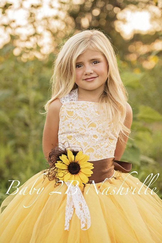 8ba7c0d78b12b Flower Girl Dress Yellow Sunflower Dress Yellow Dress Lace Dress ...