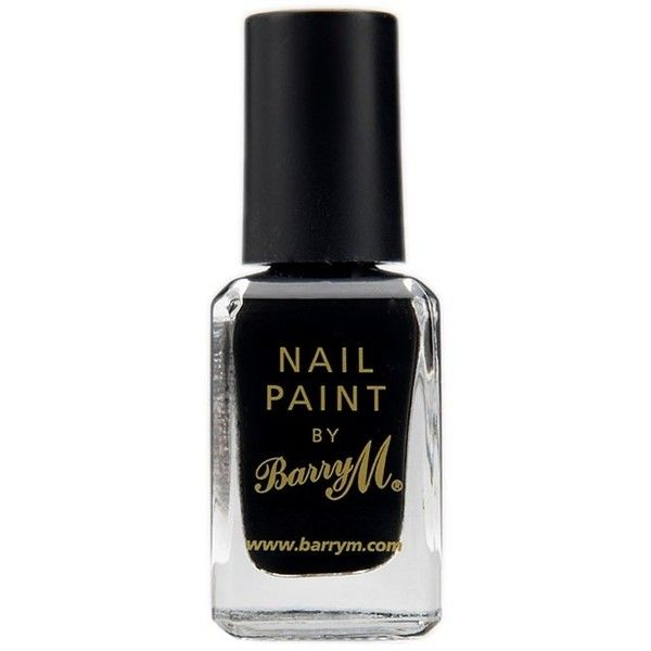 Barry M Nail Polish Black (31 HRK) ❤ liked on Polyvore featuring beauty products, nail care, nail polish, black, barry m, barry m nail polish and barry m nail varnish