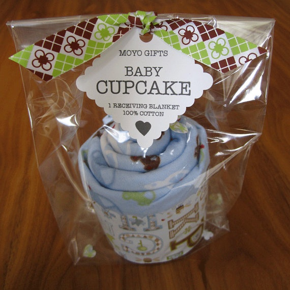 Baby receiving blanket cupcake  blue boy baby shower by moyogifts, $8.00