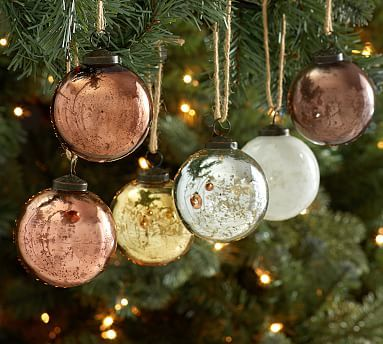 Natural Tone Mercury Glass Ball Ornaments, Set of 6