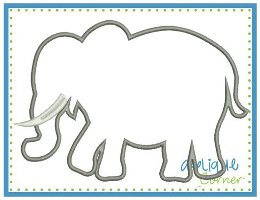 Elephant Silhouette Tusk Satin Applique Design